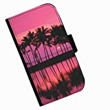 Hairyworm - Palm trees with pink sunset Acer Liquid Z220 leather side flip wallet cell phone case, cover with card slots, money slot and magnetic clasp to close.