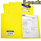 C-Line Two-Pocket Heavyweight Poly Portfolio with Prongs, For Letter Size Papers, Includes Business Card Slot, Pack of 5 Portfolios, Assorted Colors (Yellow)