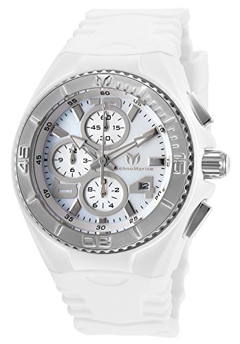Technomarine Tm-115259 Women's Cruise Jellyfish Chrono White Silicone Mother Of Pearl Dial Watch