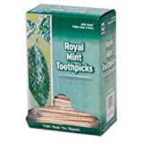 "Royal RM115 Mint Cello-Wrapped Wood Toothpicks, 2 1/2"", Natural,  Box of 1000 (Case of 15 Boxes)"