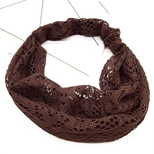 Fashion Womens Vintage Lace Floral Hollow Head Wrap Wide Headband Yoga Hairband (Colour - Coffee)
