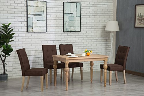 Oliver Smith - Roosevelt Collection - 5 Piece Dining - Table and 4 Chairs - Dinette Table Linen Chairs Set Antique Washed Oak 150262darkbrown - Collection 5 Piece Dining Room
