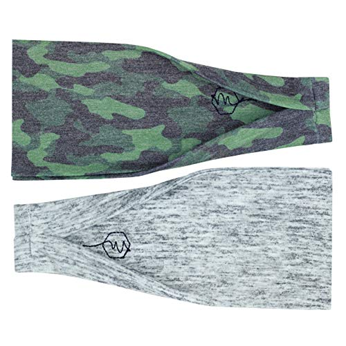 Maven Thread Women's Headband Yoga Running Exercise Sports Workout Athletic Gym Wide Sweat Wicking Stretchy No Slip 2 Pack Set Green Camo Heather Grey Rebel