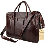 Leather Men's Laptop Bag, Berchirly 15inch Real Leather Business Work Briefcase Tote Handbag
