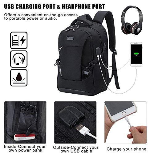 Tzowla Travel Laptop Backpack, Waterproof Business Work Backpack with USB Charging Port & Headphone Port for Men Women Durable Netbook Computer Backpack Bag Fits 17-Inch Laptop Notebook, Black by Tzowla (Image #2)