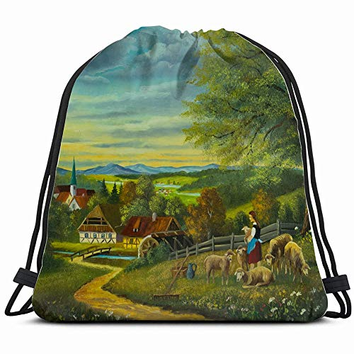 Oil Painting Sheep Flower Meadow Front Animals Wildlife People Drawstring Backpack Bag Sackpack Gym Sack Sport Beach Daypack For Girls Men & Women Teen Dance Bag Cycling Hiking Team Training