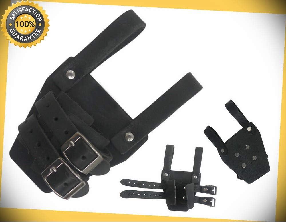 "6/""x4/"" Genuine Leather Black Medieval Dagger Frog W// 2 Securing Strap"