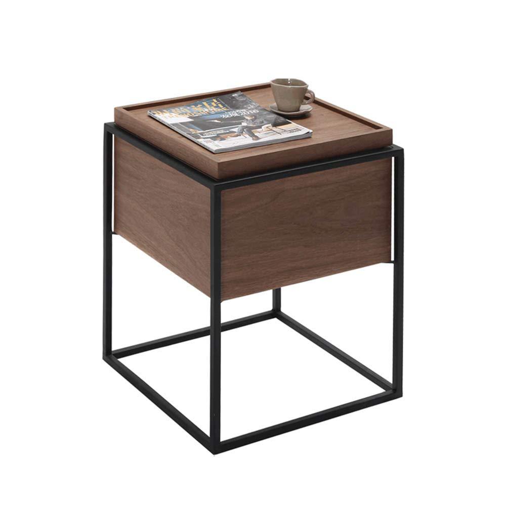 YNN 倉庫の木と金属のサイドテーブル、ウォールナット B07JGTXYP4