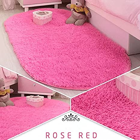 Ustide High Pile Living Room Carpet Velvet Girls Bedroom Rug Rose Red Fuzzy  Floor Runner Rugs