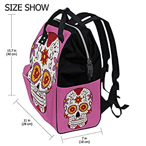 ALINLO Sugar Skull Nappy Changing Bag Diaper Backpack with Large Capacity Multi-Function Pushchair Straps Mummy Tote…