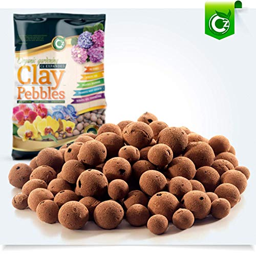 Hydroton Clay Pellets - Organic XL Leca Clay Pebbles Grow Media - Orchids • Aquaponics • Aquaculture • Hydroponics - by Cz Garden Supply (2 LB - XL Clay Pebbles)