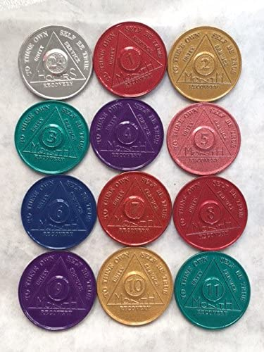 Lot of 7 Alcoholics Anonymous AA Bronze 24hrs 1 2 3 6 9 Month 1 Year Medallions