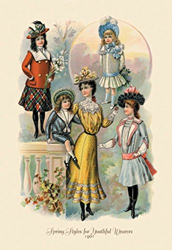 1901 Wallpaper - ArtParisienne Spring Styles for Youthful Wearers 1901 12x18 Poster Semi-Gloss Heavy Stock Paper Print