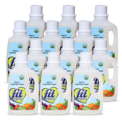 Fit Organic 32 Oz Soaker Produce Wash, Fruit and Vegetable Wash and Pesticide/Wax Remover, Pack of 12 Bottles (Fit Fruit And Vegetable Wash)