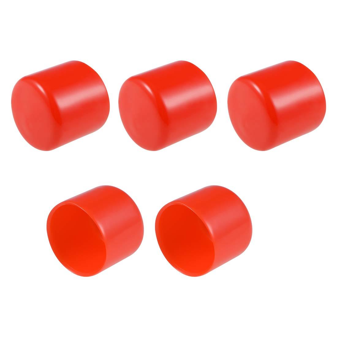 Cubierta de tapa de extremo redondo de 35mm de ID sourcing map Protector de rosca de tornillo Tapas de tubo rojo 5 uds
