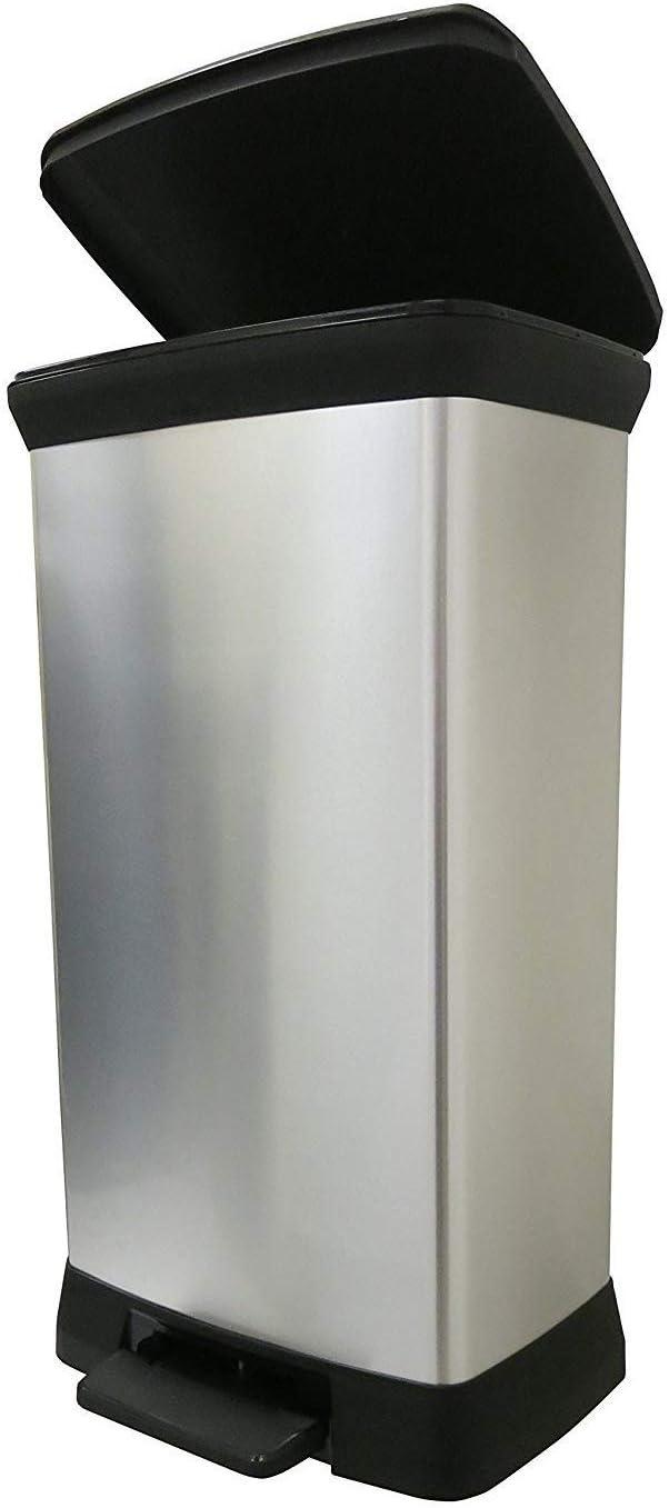 Curver Deco Abfalleimer Slim 40 L, Plastik, schwarz silber