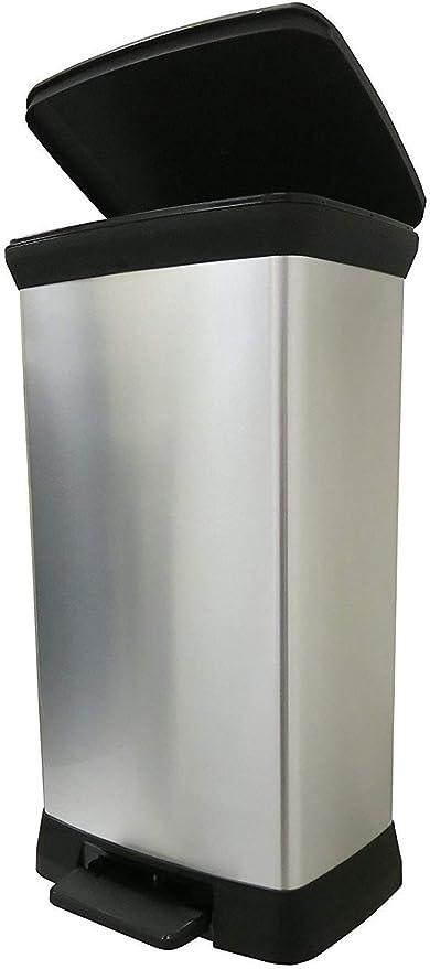 CURVER Deco Bin Abfalleimer, Plastik, Silber Metallic, 39 x 29 x 72