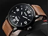 Mens-Unique-Analog-Quartz-Leather-Band-Dress-Wrist-Watch-Waterproof-Classic-Business-Casual-Fashion-Design-Scratch-Resistant-Face-Calendar-Date-Window-Phase-98FT-30M-3ATM-Water-Resistant-Black