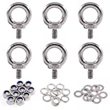 Glarks 36Pcs 304 Stainless Steel M8 Male Thread Machinery Shoulder Lifting Ring Eye Bolt with Lock Nuts/Lock Washers/Flat Washers Set