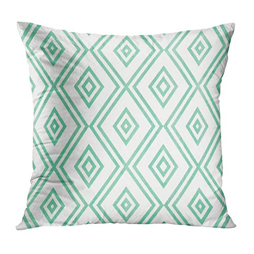 Covers Diamond Watercolor Geometrical Pattern in Seafoam Blue Color for Geometric Light Line Modern Paint Custom Square Size 16 x 16 Inches Home Decor Pillowcases Cushion ()