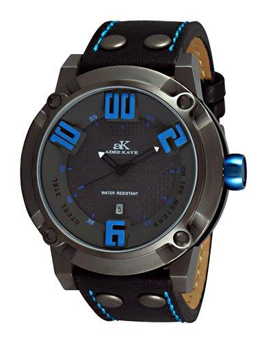 Adee Kaye #AK7281-MIPG Men's 3-D Layer Gunmetal Analog Leather Band Watch