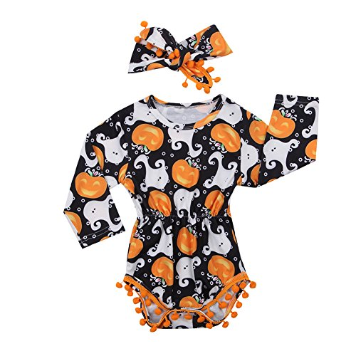 2Pcs/Set Cute Infant Newborn Baby Girl Long Sleeve Pumpkin Bodysuit Pompom Romper with Headband Halloween Outfit Clothes (6-12 Months, Black) -