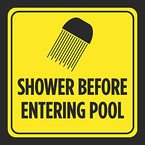 Shower Before Entering Pool Picture Print Yellow Black Caution Notice Swim Swimming Pools Hot Tub Safety Outdoor Signs
