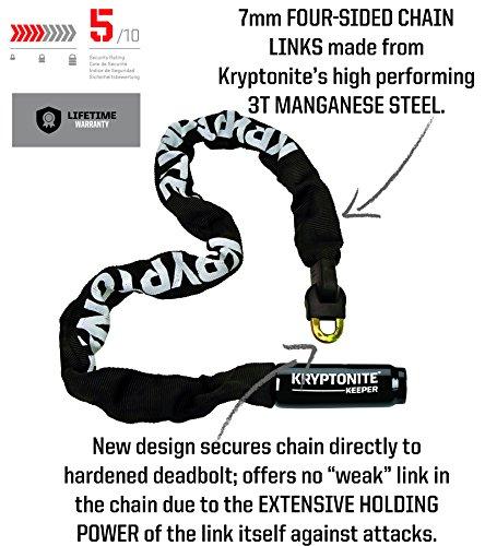 Kryptonite Keeper Integrated Chain Bicycle Lock, 85cm, Black