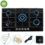 Gas Stove Gas Cooktop Tempered Glass Built in Gas Stove 5 Burners Gas Stoves Cooktop (5 Sealed Burners) Stove Burner Cast Iron Grate Stove-Top LPG/NG Dual Fuel Thermocouple Protection and Easy to Clea