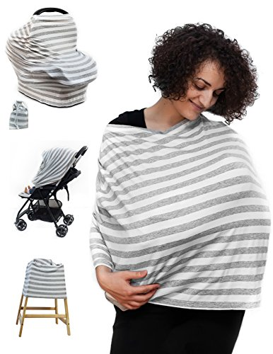 Multi-Use Nursing Breastfeeding Cover Scarf - Baby Car Seat Canopy - Stroller, High Chair, Shopping Cart, Carseat Covers for Boys and Girls, Stretchy fabric | Travel bag, Beanie & E-book GIFT Pack