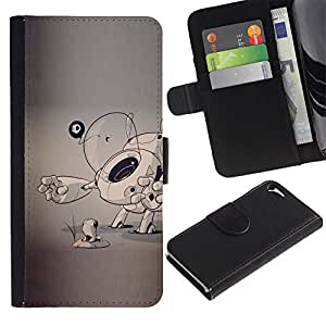 Billetera de Cuero Caso Titular de la tarjeta Carcasa Funda para Apple Iphone 5 / 5S / dog puppy sketch grey artist art cartoon / STRONG
