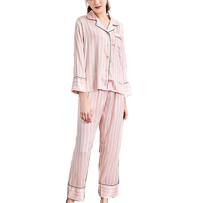 BOYANN Rayas Pijamas Mujer Primavera Otoño de Satén Ropa de Dormir M