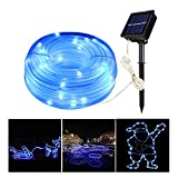 MEIKEE Security Light, 100 LED Solar Rope Lights,Solar Lights, Rope Lights, String Lights, 10M Dimmable 8 Modes Outdoor Waterproof for Decorated Christmas, Gardens, Lawn, Patio, Pary.(Blue).