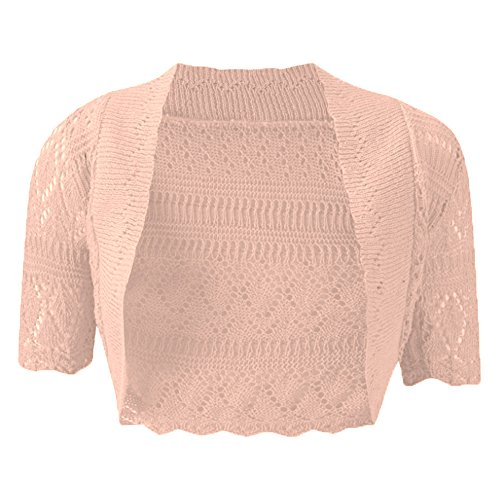 NUEVO MUJER Knitted Mujer Bolero Manga Corta Abrir Cardigan de ganchillo Bolero Plus tamaño UK8–�?2 melocotón