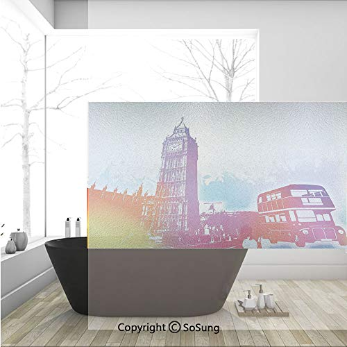 3D Decorative Privacy Window Films,Historical Big Ben and Bus Great Bell Clock Tower UK Europe Street Landmark,No-Glue Self Static Cling Glass Film for Home Bedroom Bathroom Kitchen Office 36x24 Inch