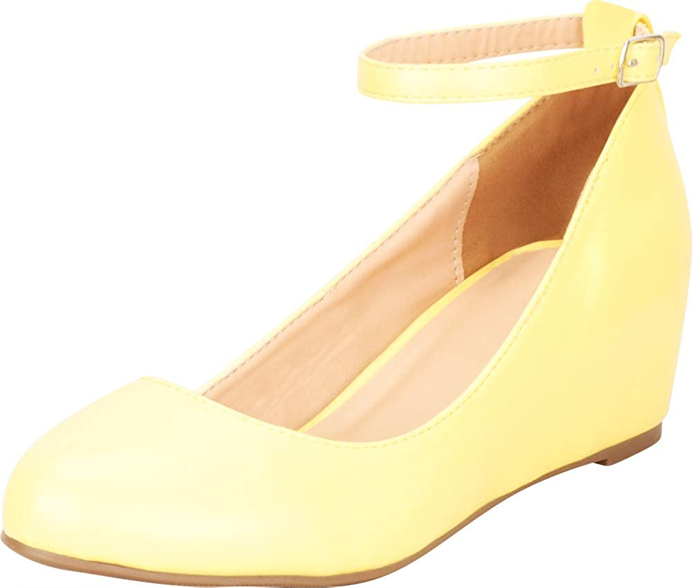 Lemon Pu Cambridge Select Women's Round Toe Buckled Ankle Strap Wrapped Wedge