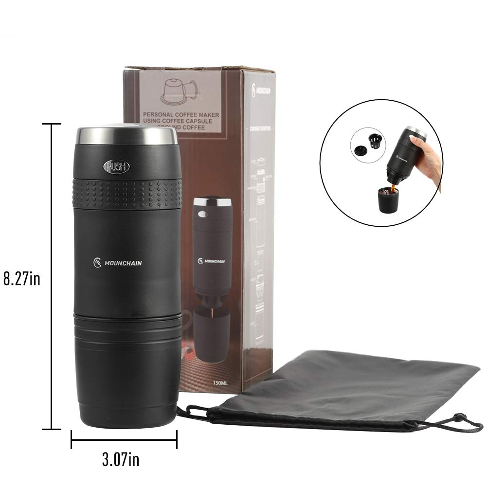 Portable Travel Coffee Maker, Single Cup Mini Electric Coffee Machine, Battery Pumped, No Manual Operation, Perfect for Tiny Kitchen, Office Use or Outdoor Camping Mounchain 17108-01