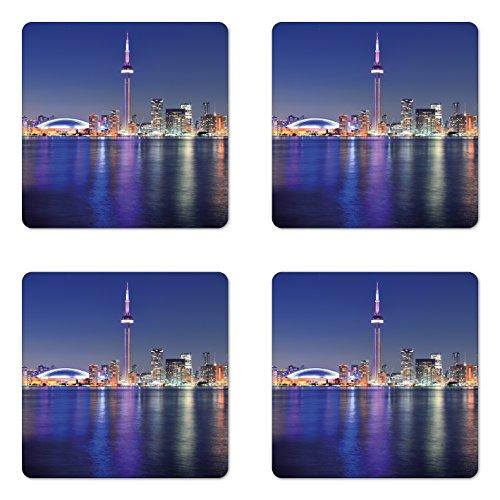Lunarable Blue Coaster Set of 4, Canada Toronto Sunset over the Lake Panorama Urban City Skyline Lively Night, Square Hardboard Gloss Coasters for Drinks, Blue Pink Peach (Best Toronto Patio Restaurants)