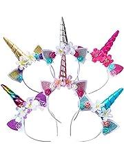 KOIROI Eenhoorn haarband voor kinderen, 6 stuks, kleurrijke hoofdband met eenhoorn, haarsieraad voor verjaardag, carnaval, Pasen, verjaardag, verjaardagsfeest, feest, haarband, eenhoorn, hoofdband