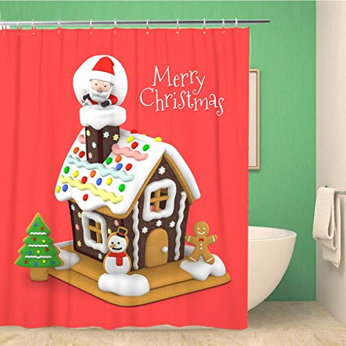 Awowee Bathroom Shower Curtain 3Dcg Gingerbread House and Santa Claus for Merry Christmas Polyester Fabric 60x72 inches Waterproof Bath Curtain Set with Hooks