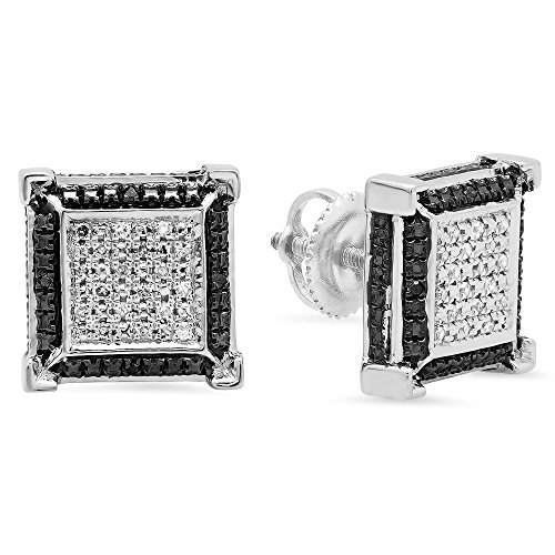 0.15 Carat (ctw) Sterling Silver Round Black & White Diamond Micro Pave V Square Shape Stud Earrings ()