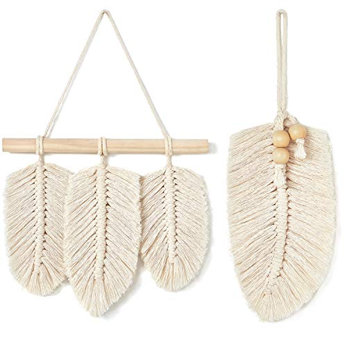 (Mkono Small Macrame Wall Hanging Feather Boho Chic Woven Leaf Tassels Decoration Cotton Ornaments with Wooden Beads Home Decor, Set of 2)