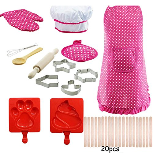 BQVIVYI Kids Aprons Chef Set, Childrens Role Play Set with Dress up Costume and Kitchen Accessories, Chef Hat, Kids Pretend Play Perfect Gift for Girls and boys Silicone Ice Pop Mold Sets 33 pcs -