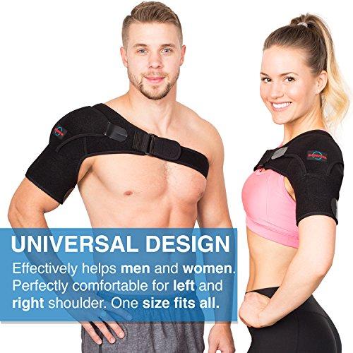 Shoulder Brace for Women and Men - Left Right Shoulder Support Brace for Rotator Cuff AC Joint Dislocated Shoulder - Adjustable Neoprene Shoulder Brace - Compression Shoulder Sleeve by Supportex (Image #2)