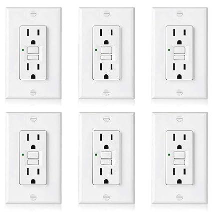 6 pack] bestten self test gfci outlet, slim series, 15a gfi[6 pack] bestten self test gfci outlet, slim series, 15a gfi