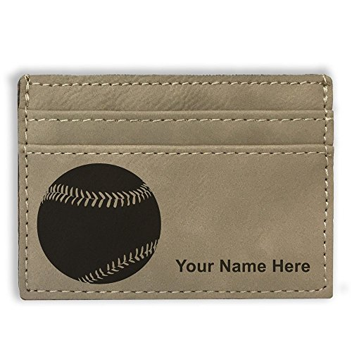 Money Clip Wallet - Baseball Ball - Personalized Engraving Included (Light ()