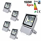 Sanzo 150W LED Flood Light,Security Energy Spot Light,2 Led Chip,Daylight White,10000LM,6000K,Indoor & Outdoor (5 Pack)