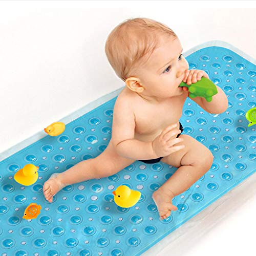 Sheepping Upgrade Baby Bath Mat Non Slip Extra Long Bathtub Mat for Kids 40 X 16 Inch - Eco Friendly Bath Tub Mat with 200 Big Suction Cups,Machine Washable Shower Mat,Blue