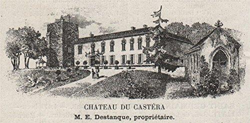 1908 Print (MÉDOC. SAINT-GERMAIN-D'ESTEUIL. Chateau du Castéra. Destanque. SMALL - 1908 - old print - antique print - vintage print - Gironde art prints)