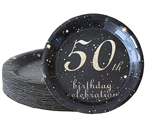 50th birthday decorations party supplies set,50th birthday gifts for women or men, 50 piece paper plates,9 x 9 Inches. (50)]()
